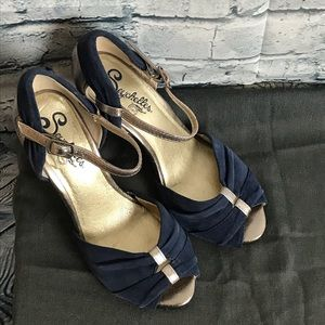 Seychelles gold, silver and blue heels size 6.5